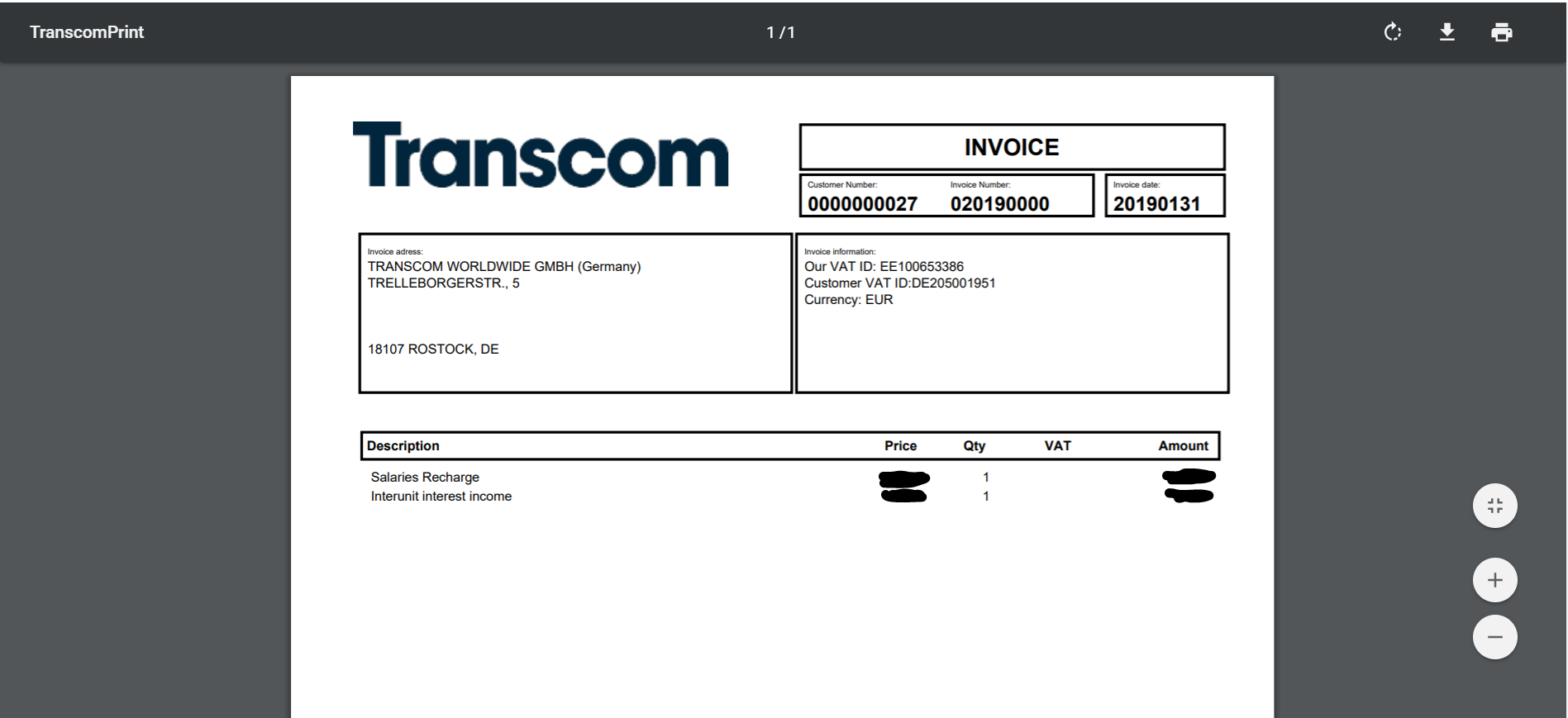 Intercompany automation invoice